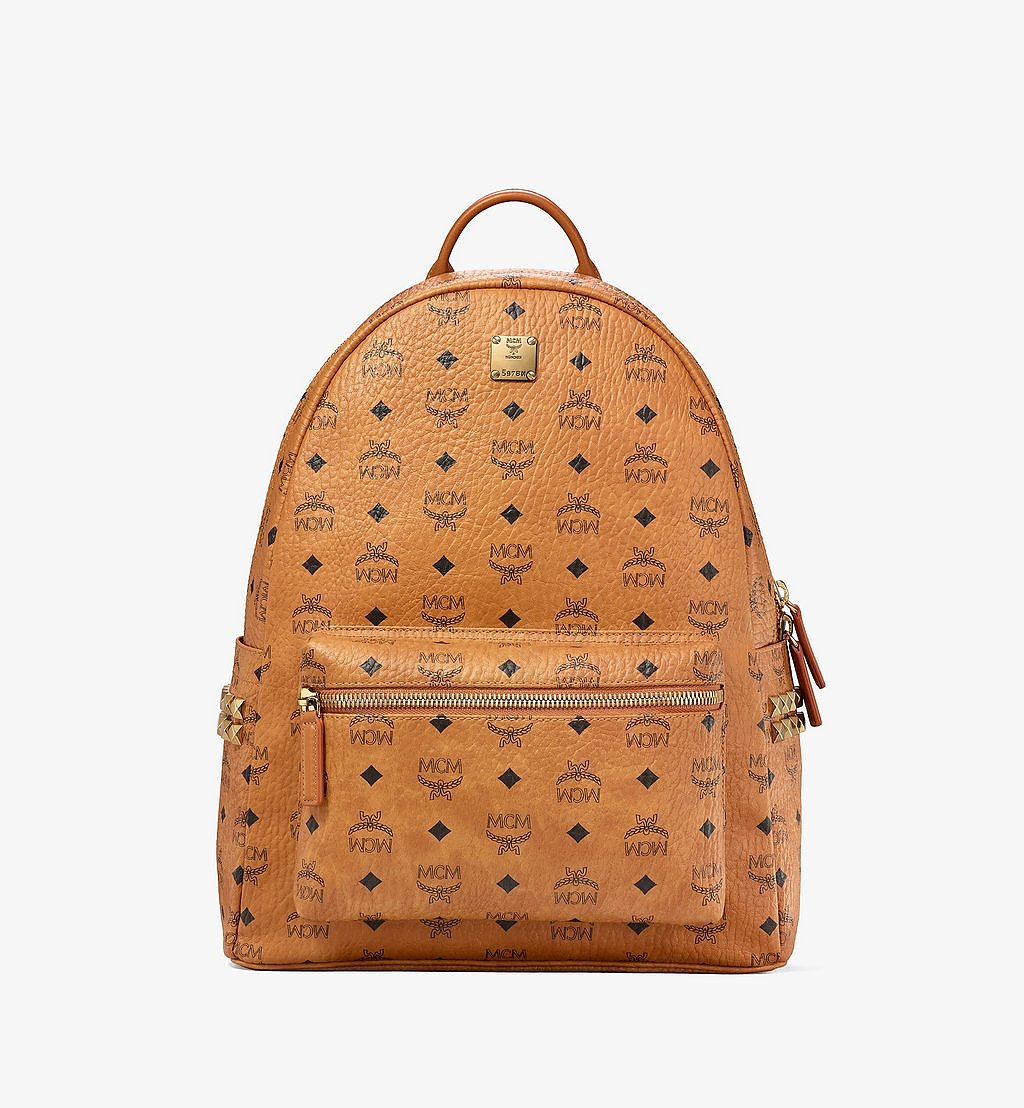 MCM Stark Side Studs Backpack in Visetos Cognac MMK6SVE38CO001 Alternate View 1