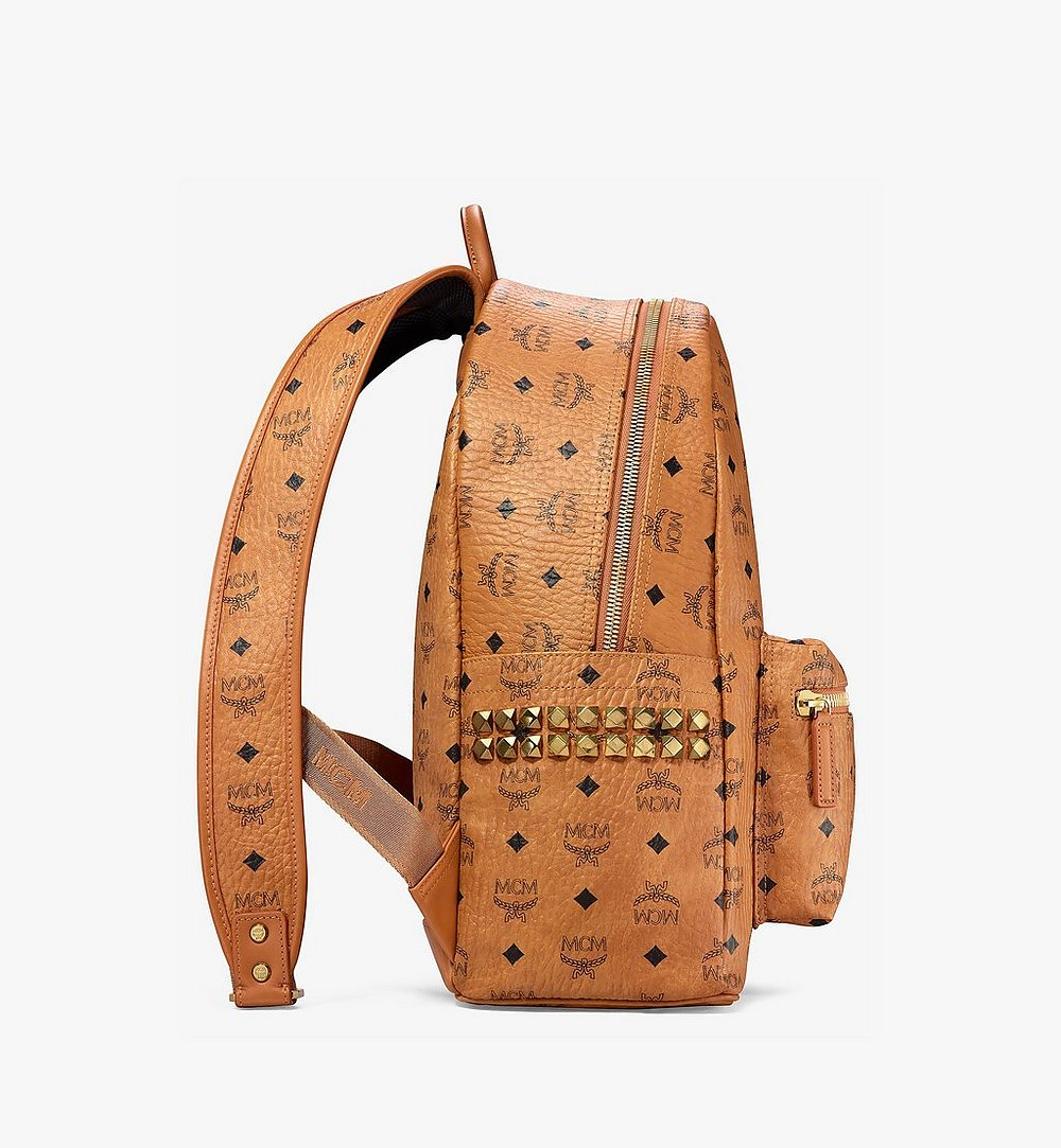 MCM Stark Side Studs Backpack in Visetos Cognac MMK6SVE38CO001 Alternate View 1