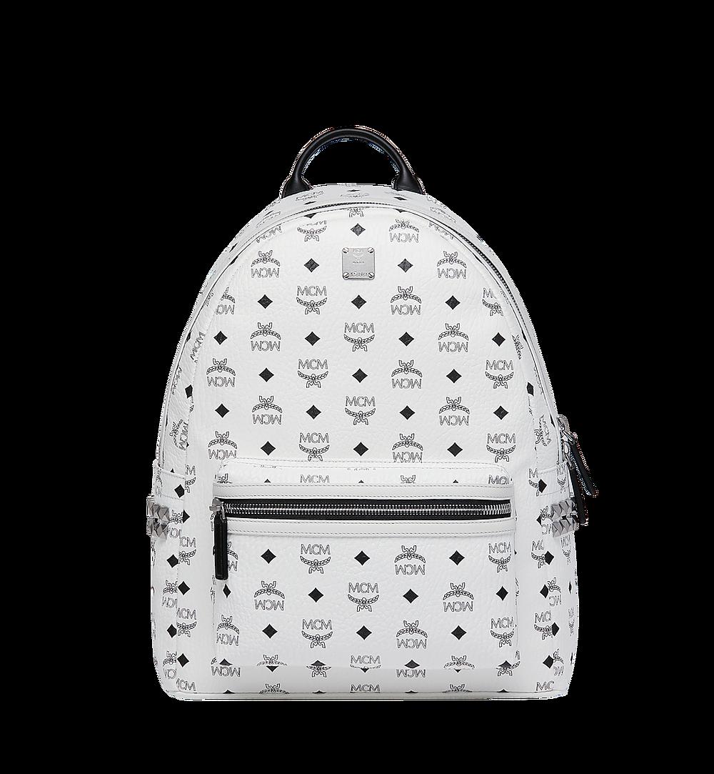 MCM Stark Side Studs Backpack in Visetos White MMK6SVE38WT001 Alternate View 1