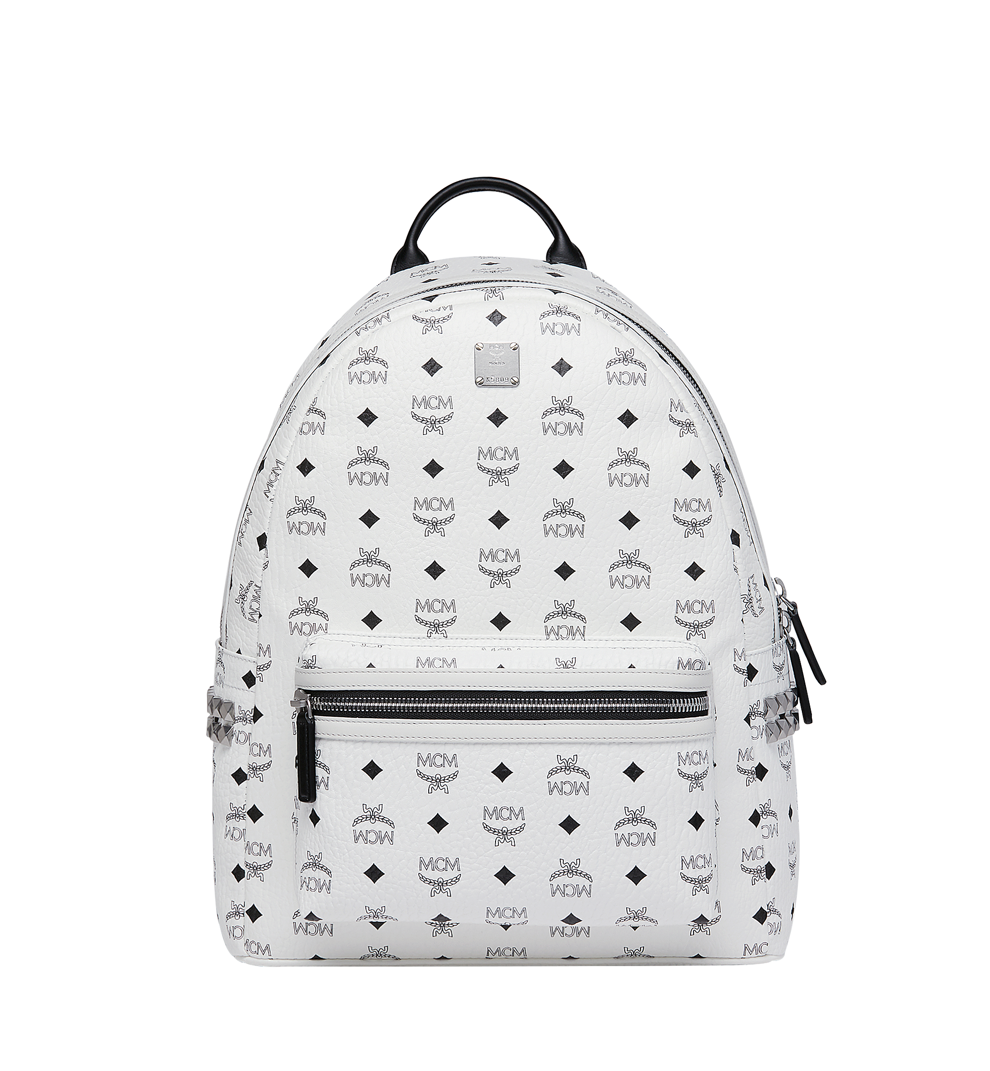 MCM Stark Side Studs Backpack in Visetos White MMK6SVE38WT001 Alternate View 1