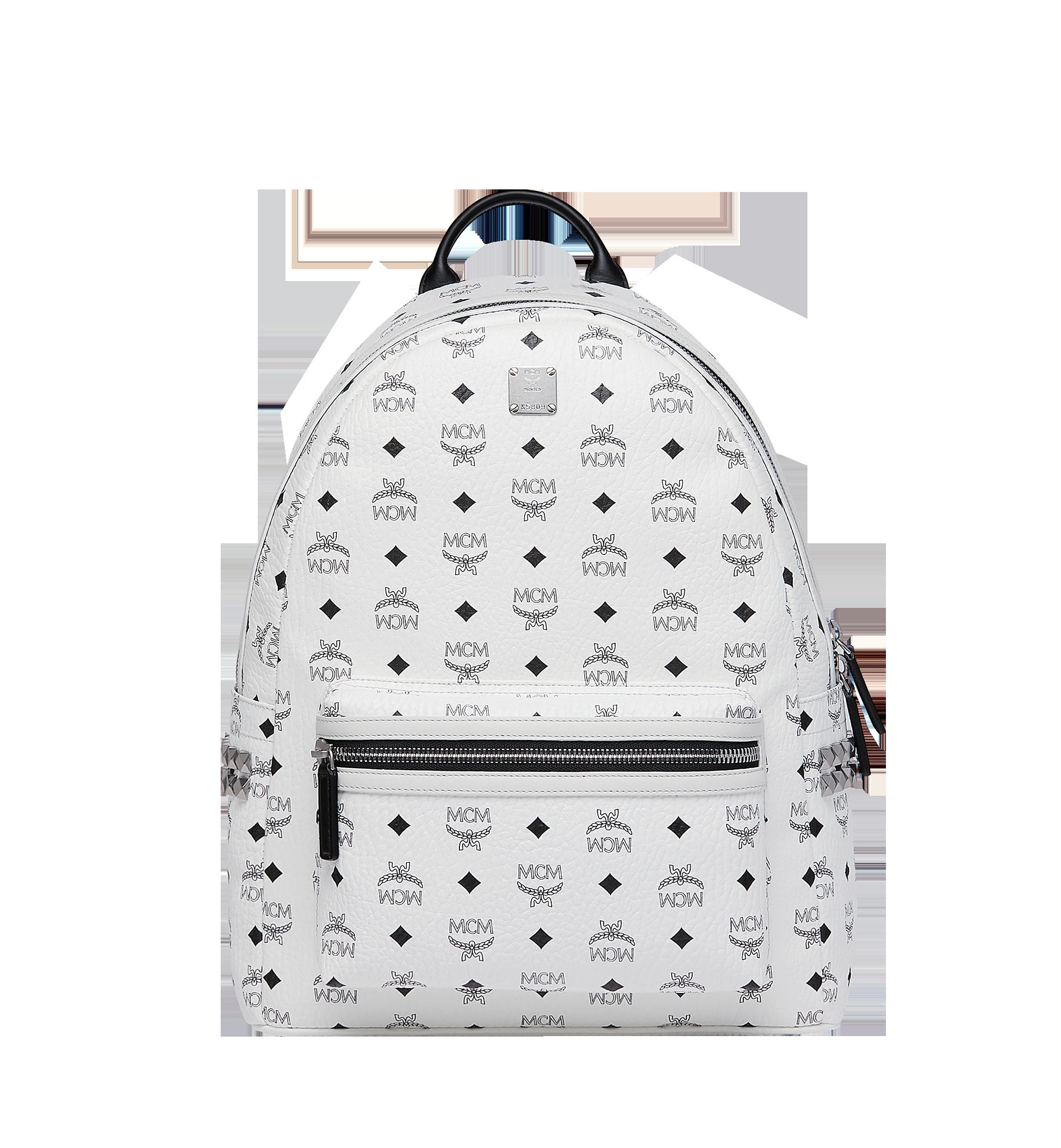 40 cm 16 in Stark Side Studs Backpack in Visetos White