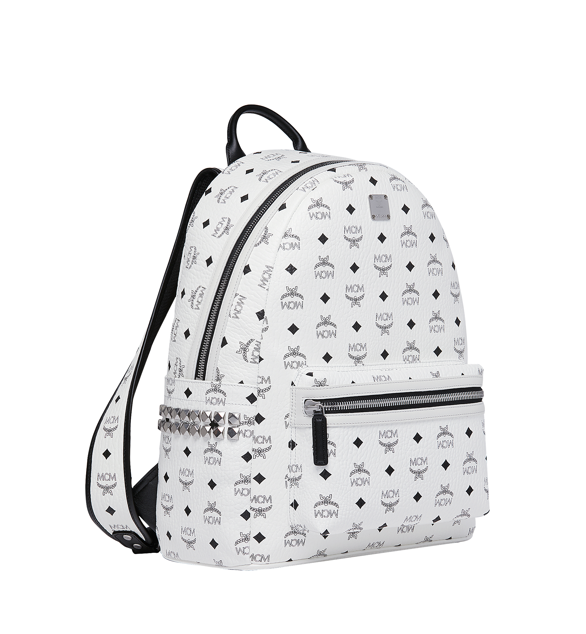 MCM Stark Side Studs Backpack in Visetos White MMK6SVE38WT001 Alternate View 2