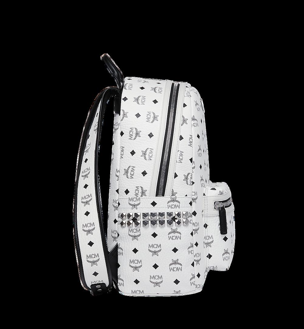 MCM Stark Side Studs Backpack in Visetos White MMK6SVE38WT001 Alternate View 2