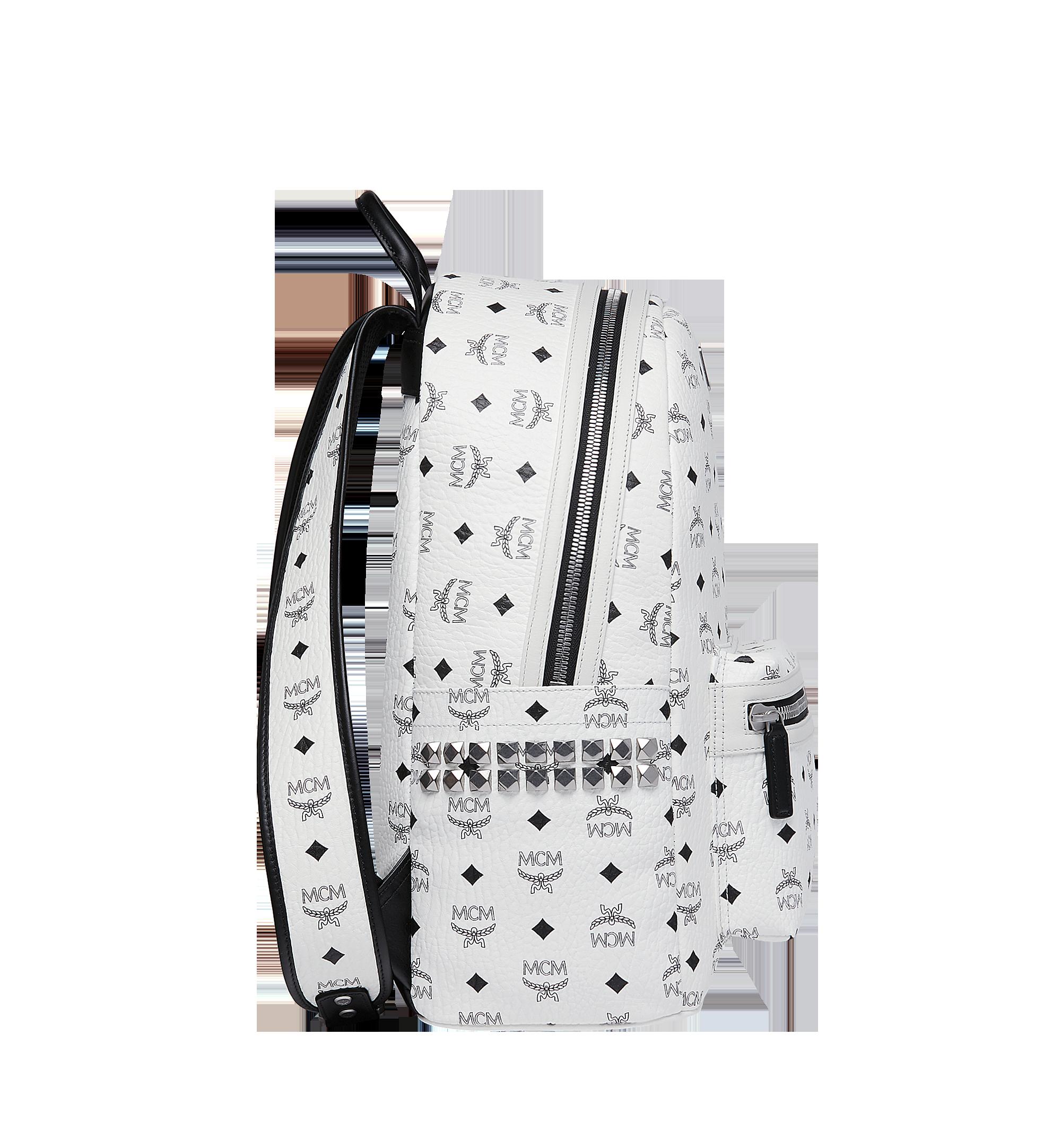 MCM Stark Side Studs Backpack in Visetos White MMK6SVE38WT001 Alternate View 3