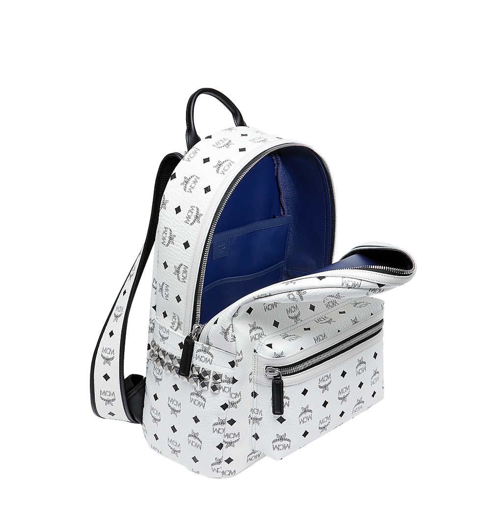 MCM Stark Side Studs Backpack in Visetos White MMK6SVE38WT001 Alternate View 4