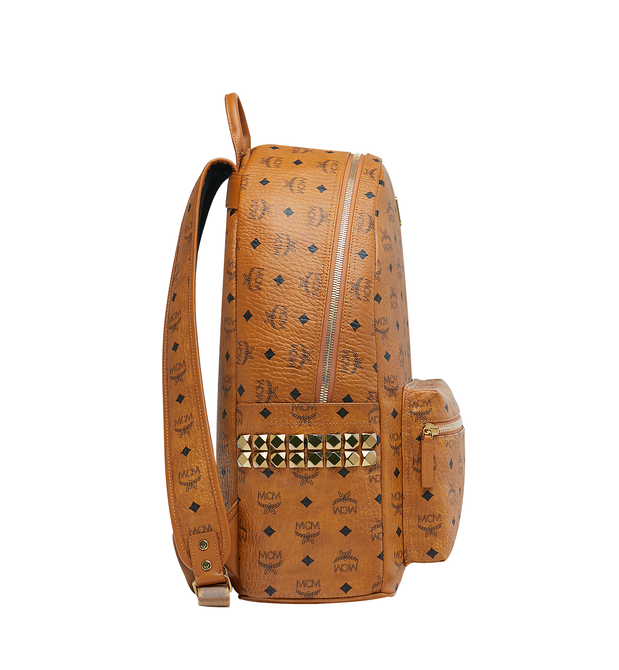 47 cm 18.5 in Stark Side Studs Rucksack in Visetos Cognac