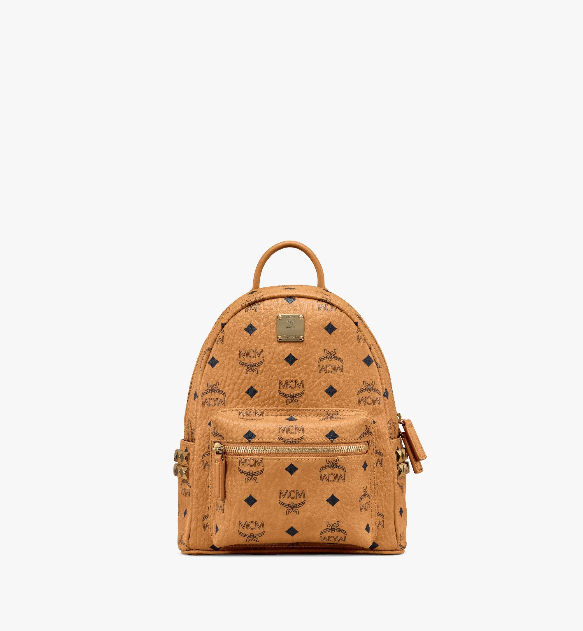 27 cm 10.5 in Stark Side Studs Rucksack in Visetos Cognac