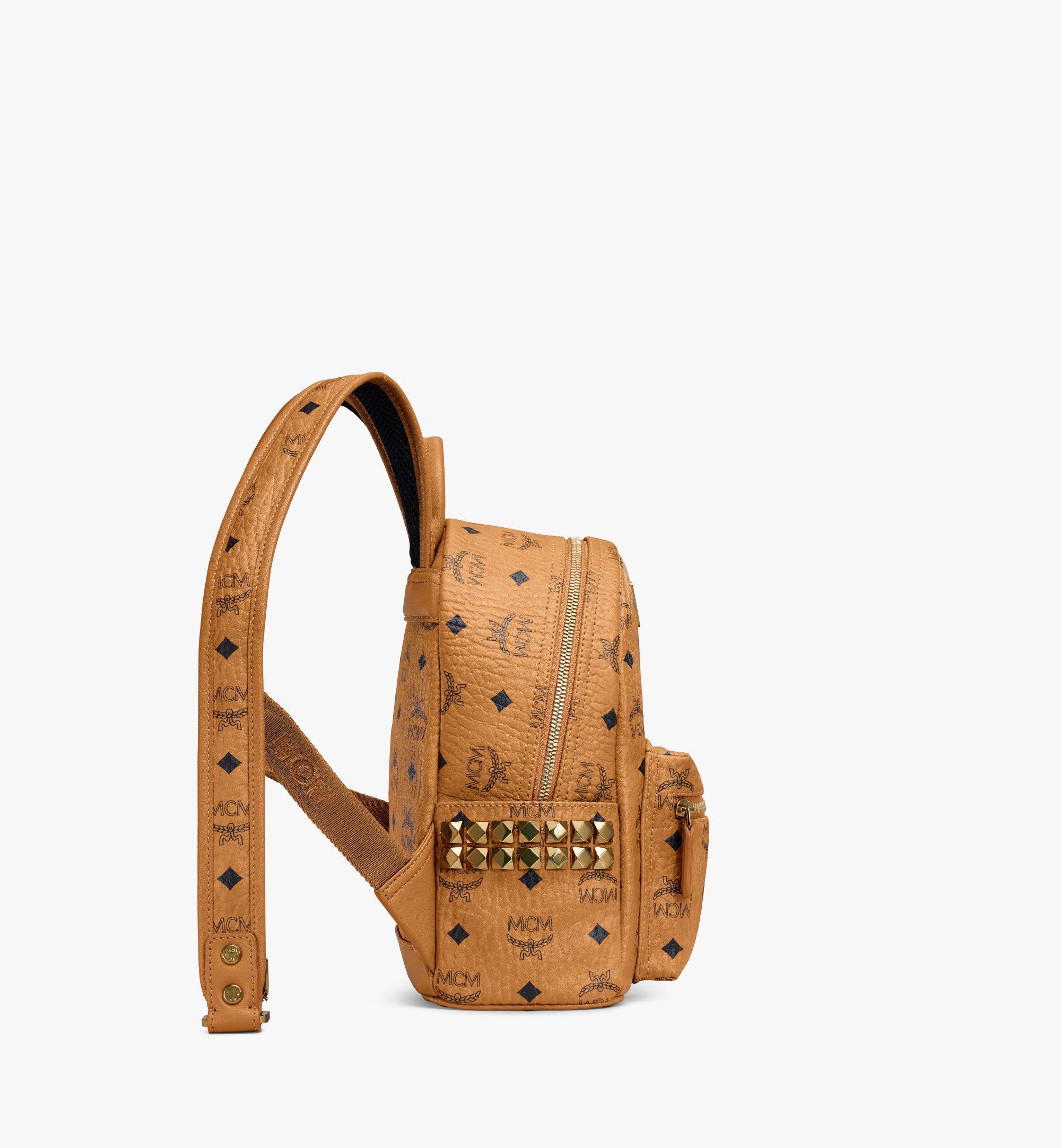 27 cm 10.5 in Stark Side Studs Rucksack in Visetos Cognac