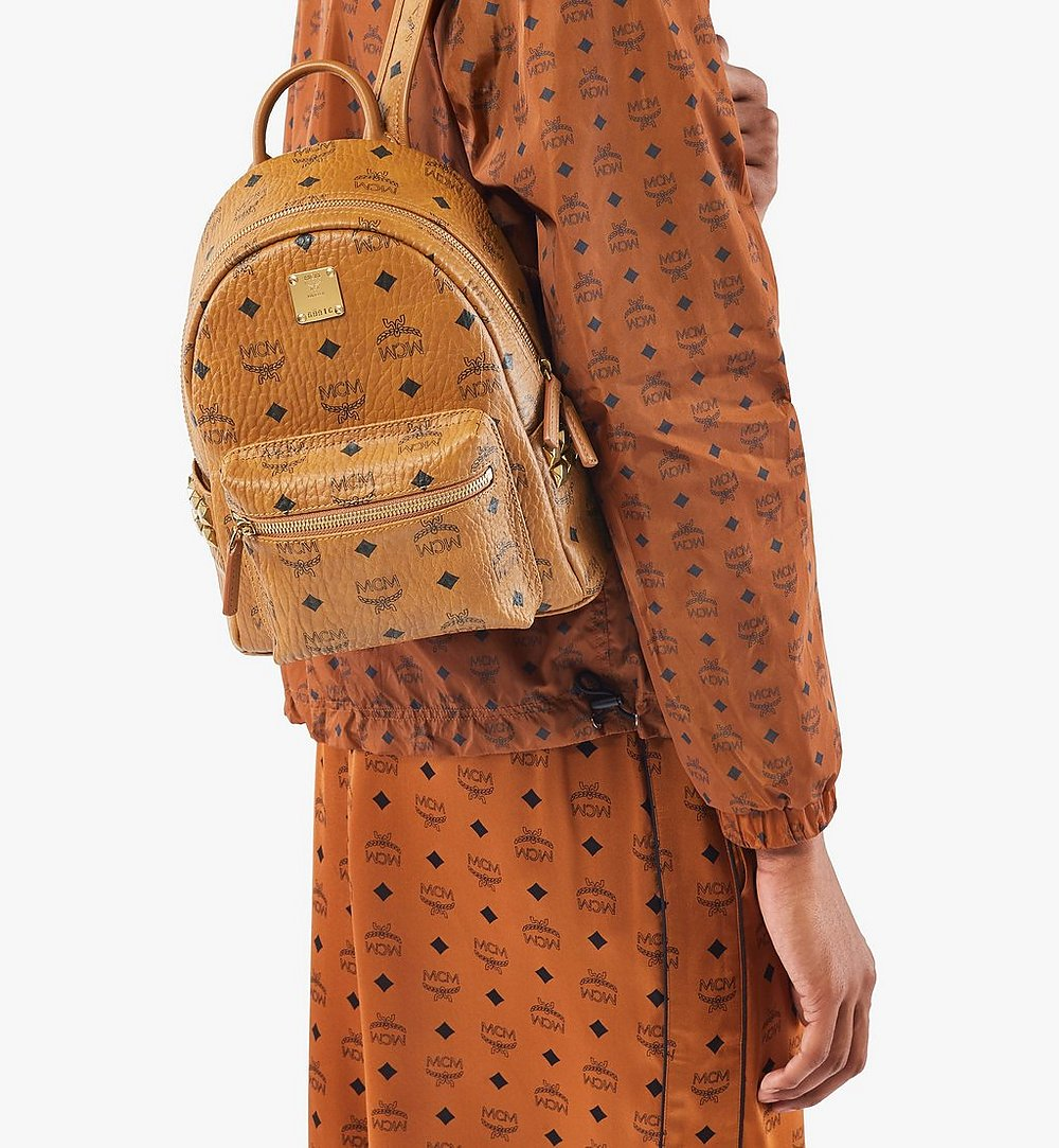 MCM Stark Side Studs Backpack in Visetos Cognac MMK6SVE41CO001 Alternate View 2