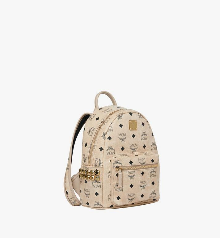 MCM Stark Side Studs Rucksack in Visetos Beige MMK6SVE41IG001 Alternate View 2