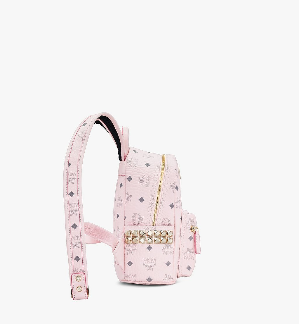 MCM Stark Side Studs Backpack in Visetos Pink MMK6SVE41QH001 Alternate View 1