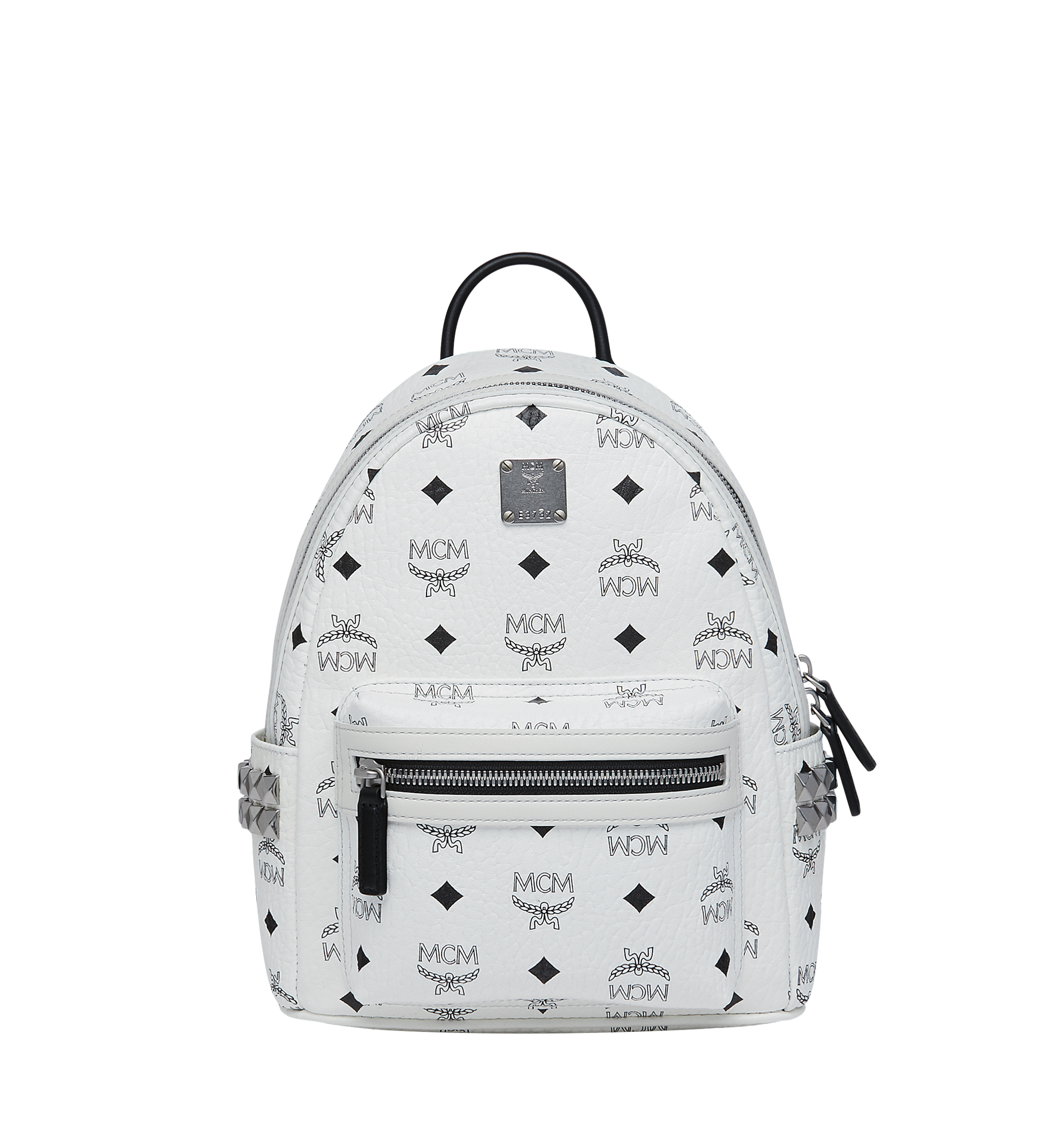 27 cm 10.5 in Stark Side Studs Backpack in Visetos White