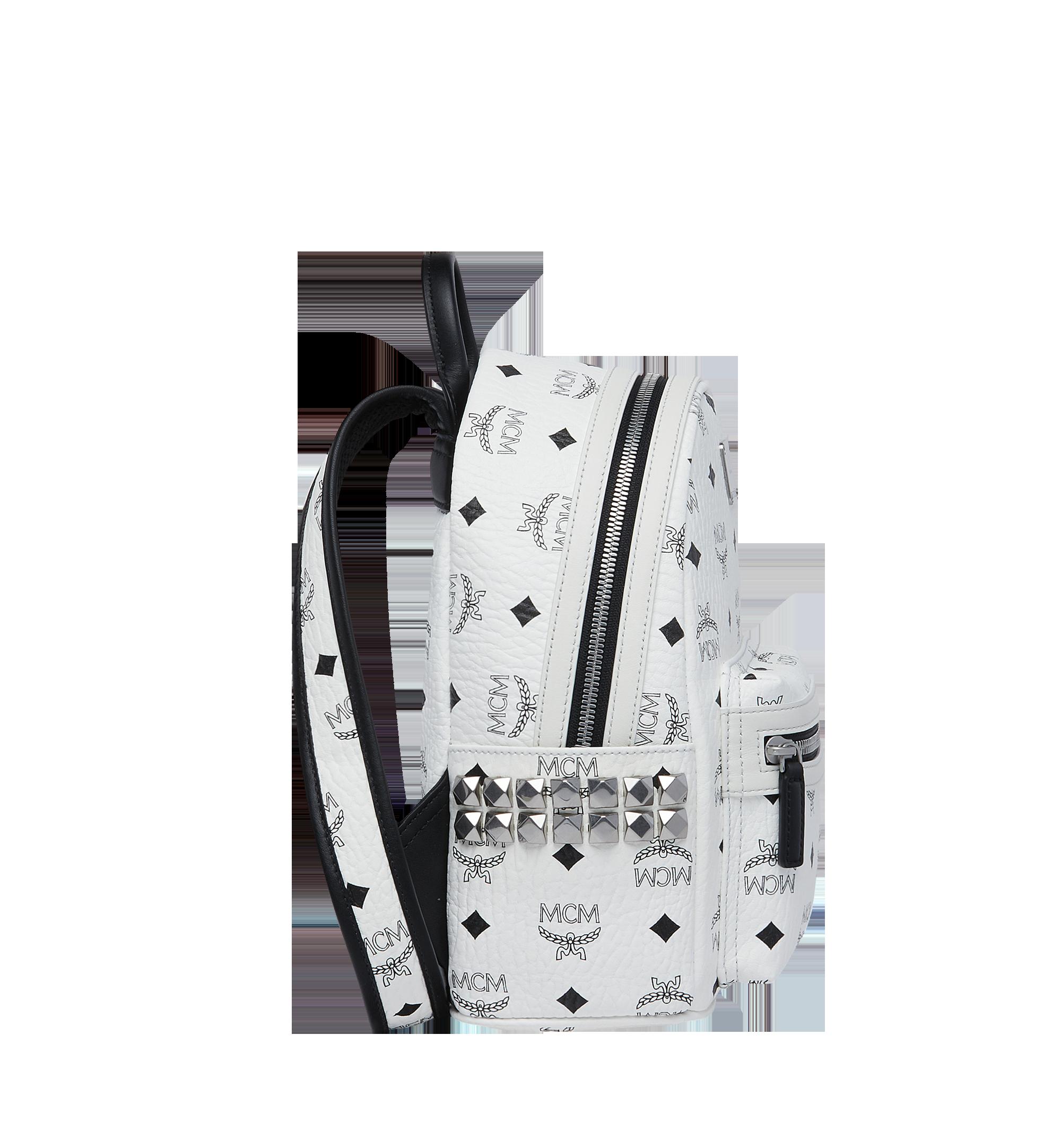 MCM Visetos 系列的 Stark 側鉚釘後背包 White MMK6SVE41WT001 更多視圖 2