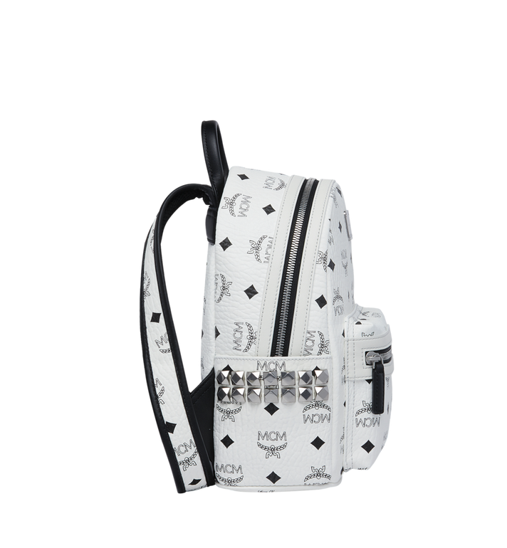 MCM Stark Side Studs Rucksack in Visetos White MMK6SVE41WT001 Alternate View 3