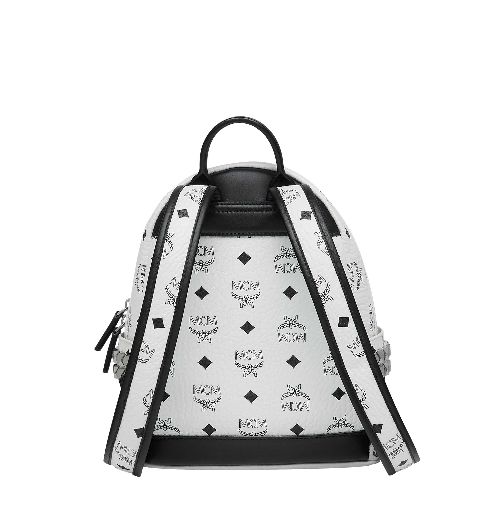 MCM Visetos 系列的 Stark 側鉚釘後背包 White MMK6SVE41WT001 更多視圖 3