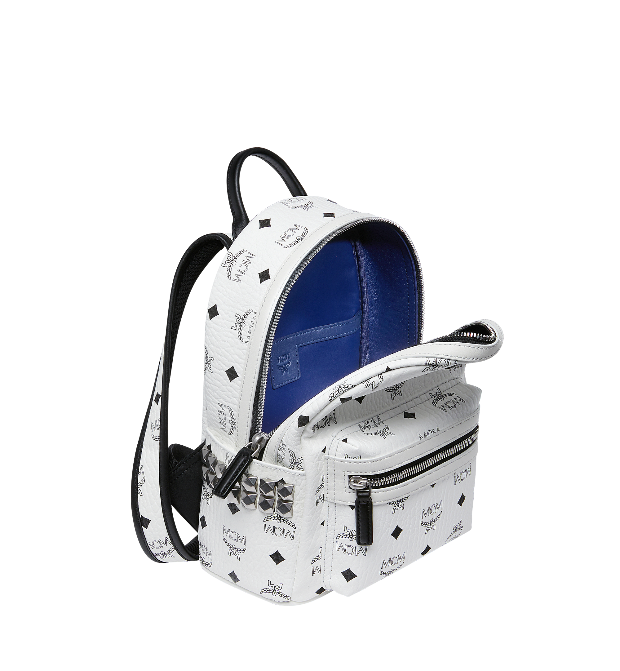 27 cm 10.5 in Stark Side Studs Backpack in Visetos White