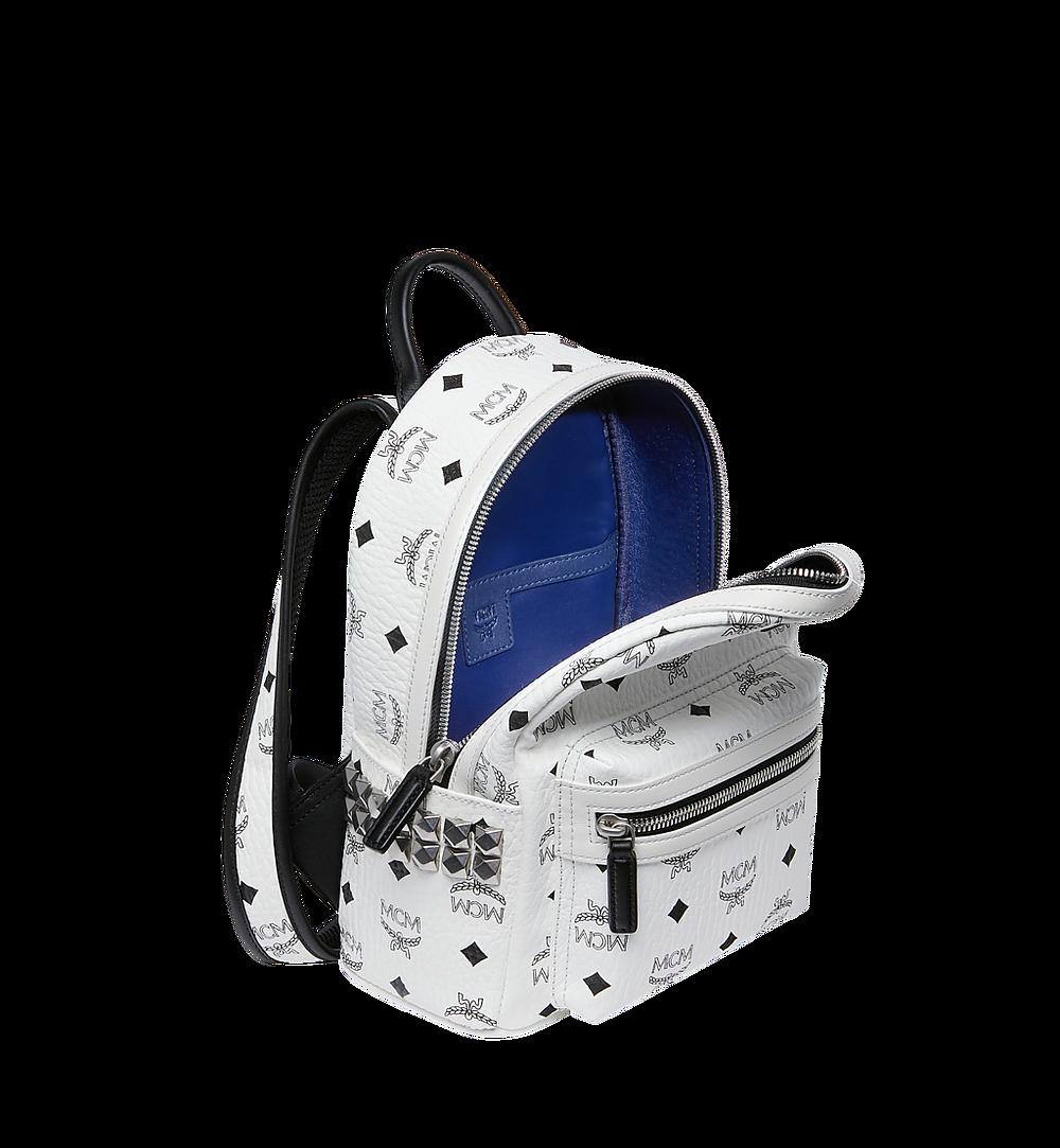 MCM Visetos 系列的 Stark 側鉚釘後背包 White MMK6SVE41WT001 更多視圖 4