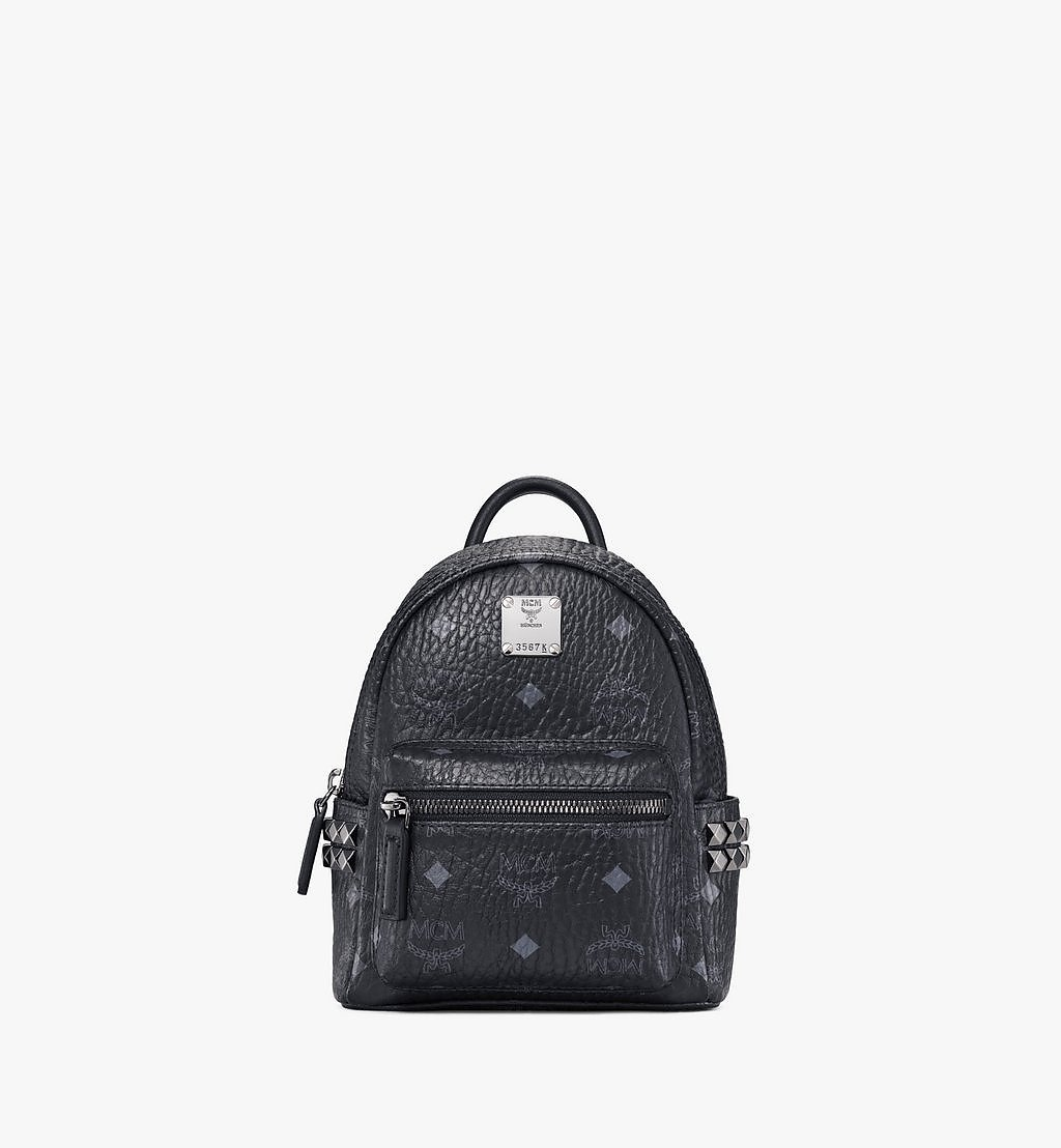 MCM Stark Bebe Boo Side Studs Backpack in Visetos Black MMK6SVE92BK001 Alternate View 1