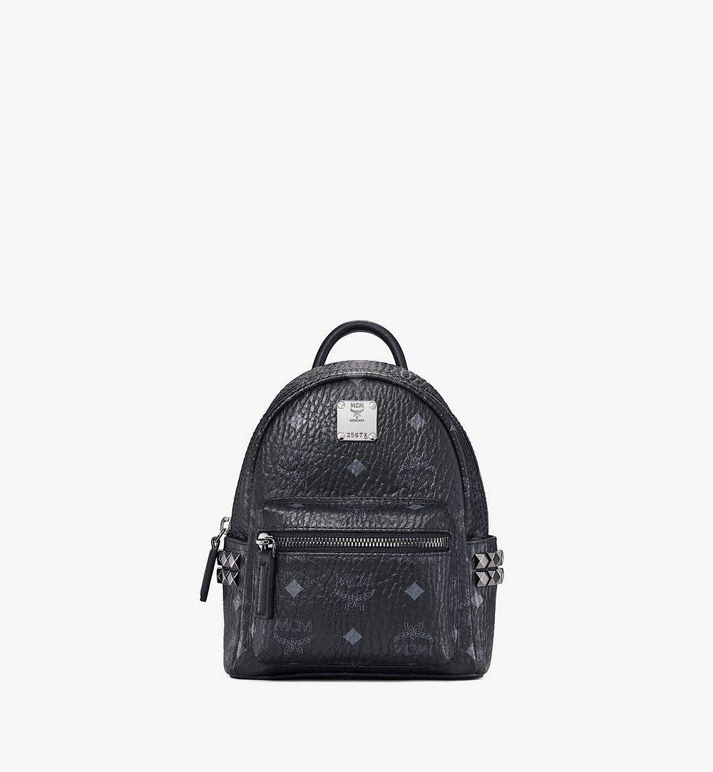 MCM Stark Side Studs Bebe Boo Backpack in Visetos Black MMK6SVE92BK001 Alternate View 1