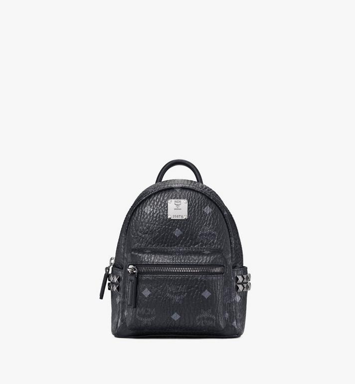 MCM Stark Side Studs Bebe Boo Backpack in Visetos Black MMK6SVE92BK001 Alternate View 1