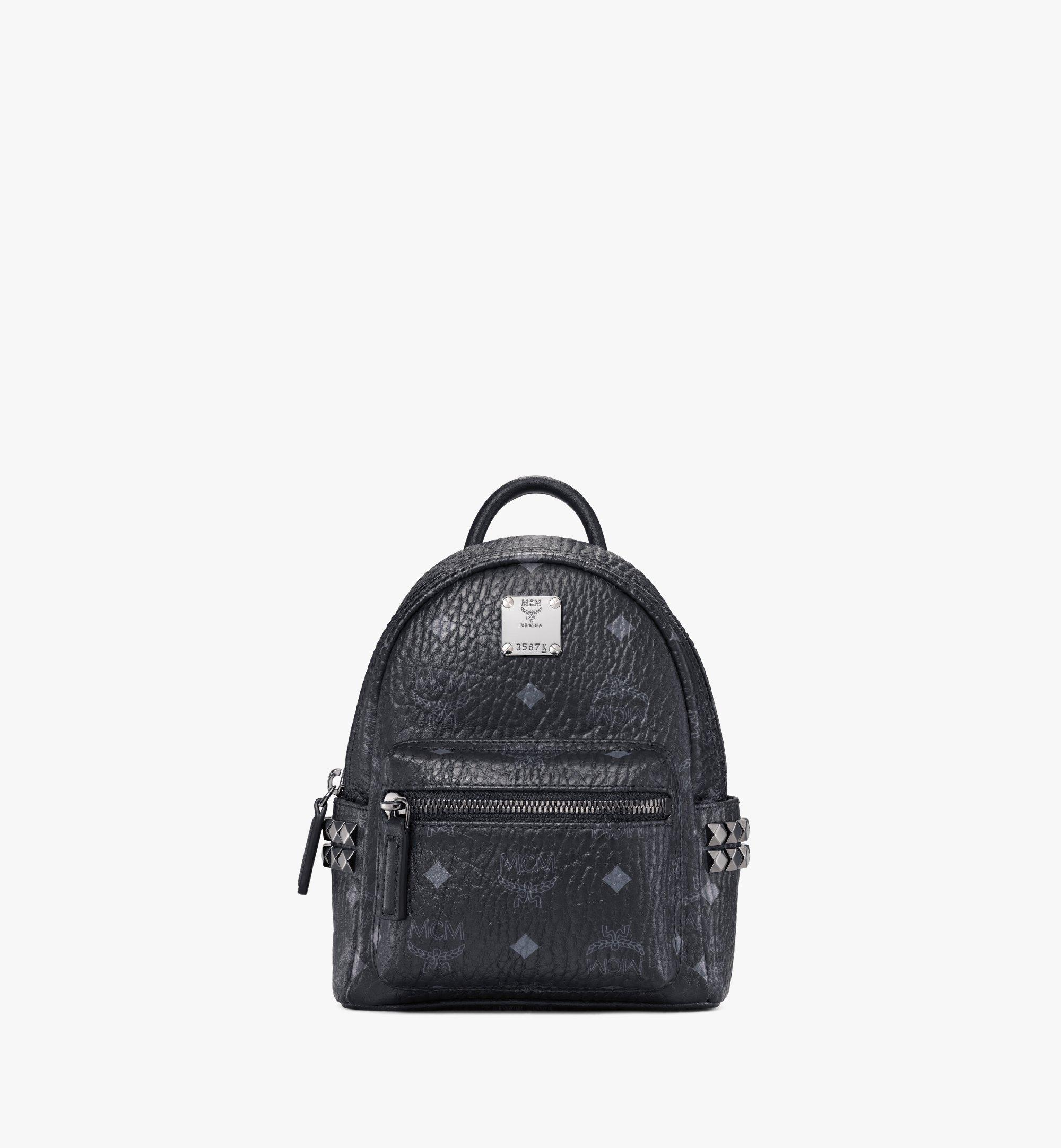 MCM Stark Side Studs Bebe Boo Rucksack in Visetos Black MMK6SVE92BK001 Alternate View 1