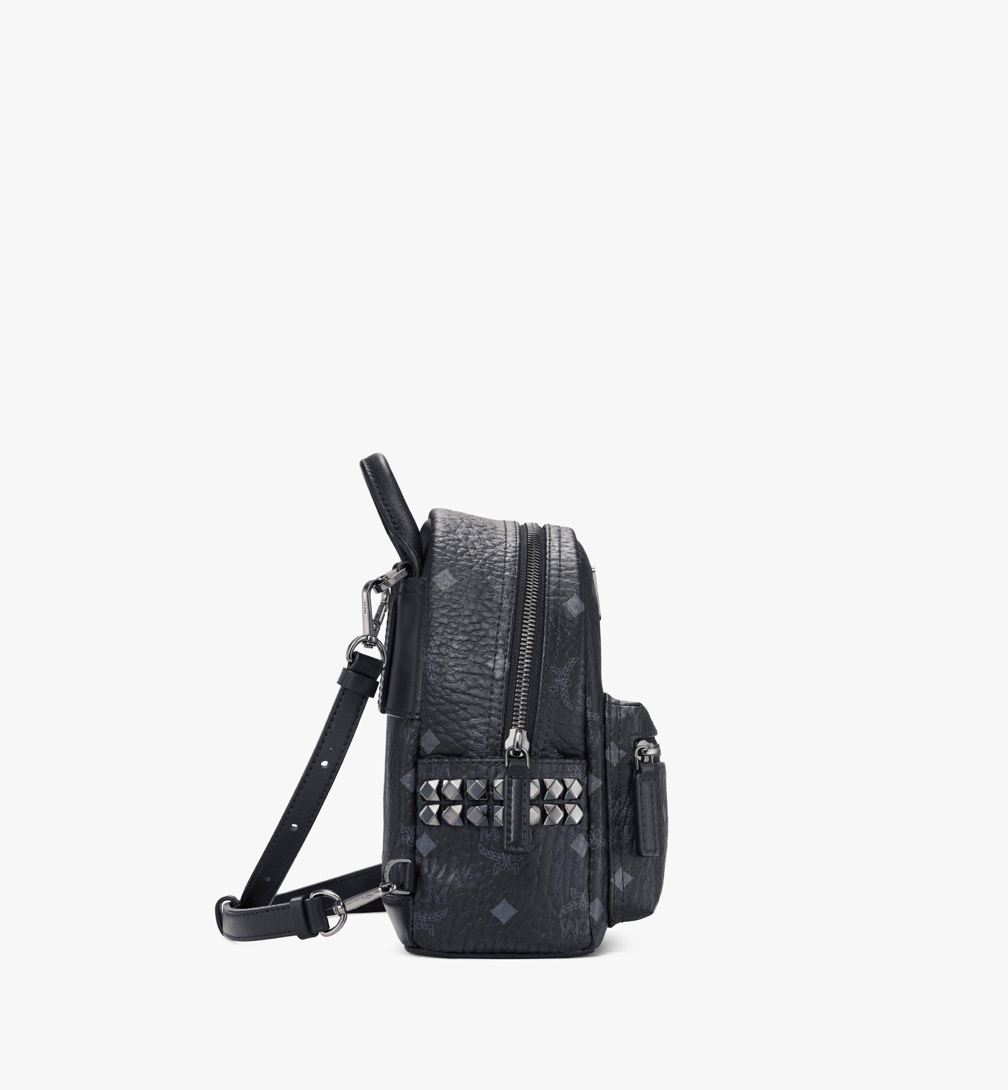 MCM Stark Side Studs Bebe Boo Rucksack in Visetos Black MMK6SVE92BK001 Alternate View 2
