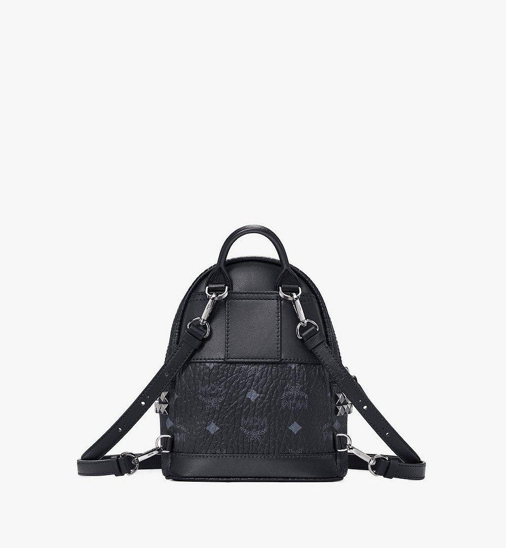 MCM Stark Side Studs Bebe Boo Backpack in Visetos Black MMK6SVE92BK001 Alternate View 3