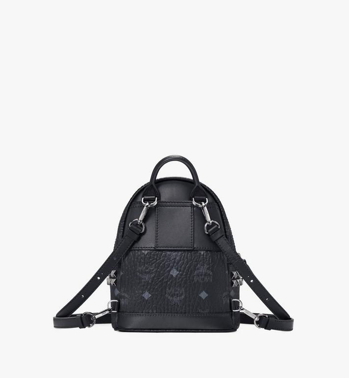 MCM Stark Side Studs Bebe Boo Rucksack in Visetos Black MMK6SVE92BK001 Alternate View 4