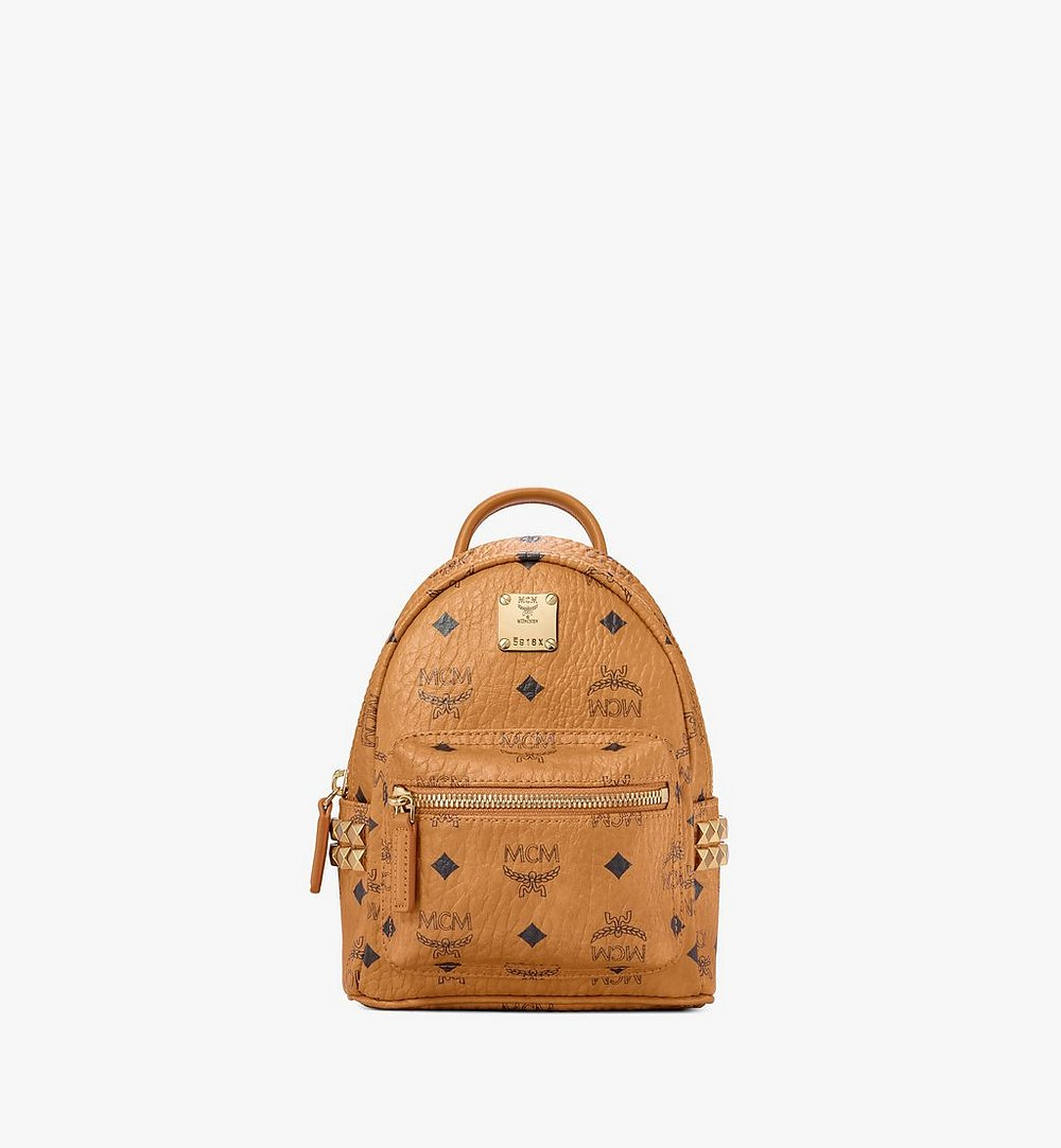 MCM Stark Bebe Boo Backpack in Visetos Cognac MMK6SVE92CO001 Alternate View 1