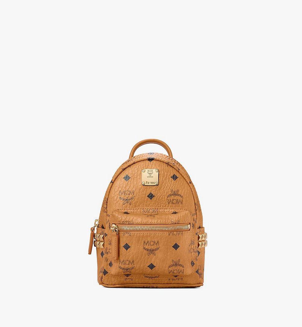 MCM Stark Side Studs Bebe Boo Backpack in Visetos Cognac MMK6SVE92CO001 Alternate View 1