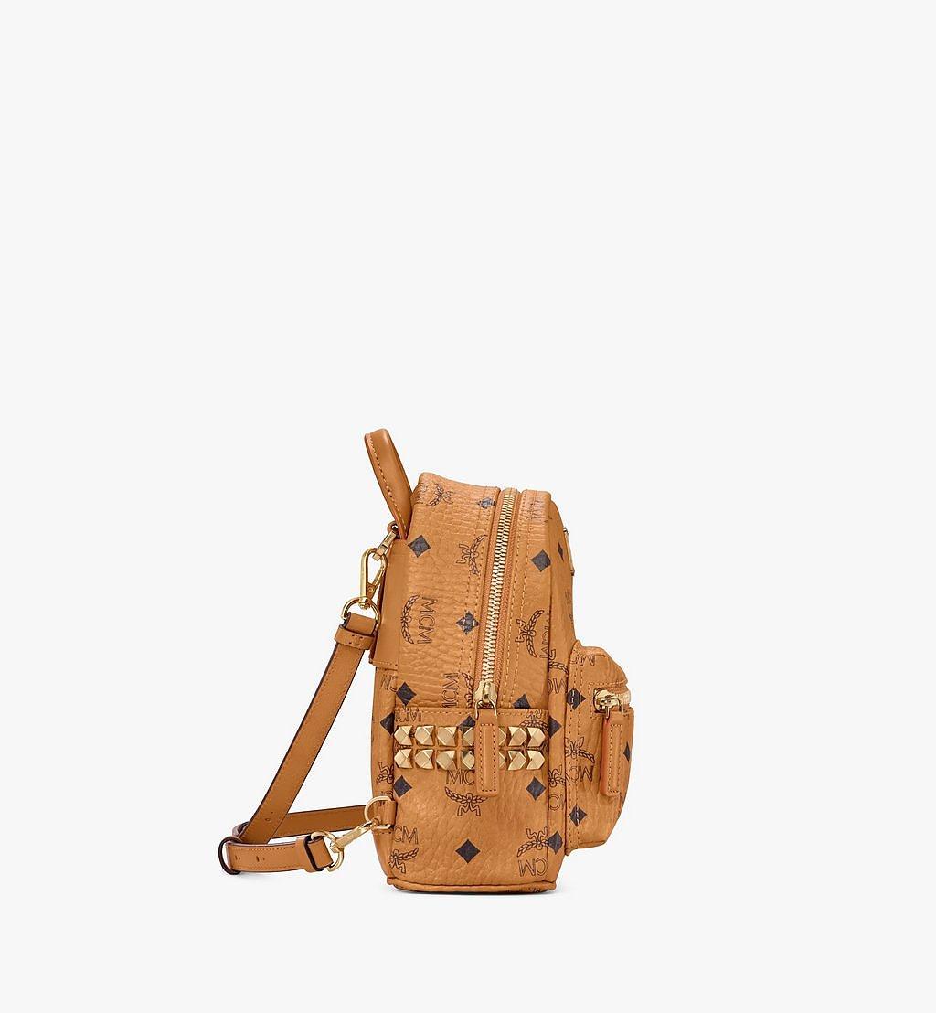 MCM Stark Bebe Boo Side Studs Backpack in Visetos Cognac MMK6SVE92CO001 Alternate View 1