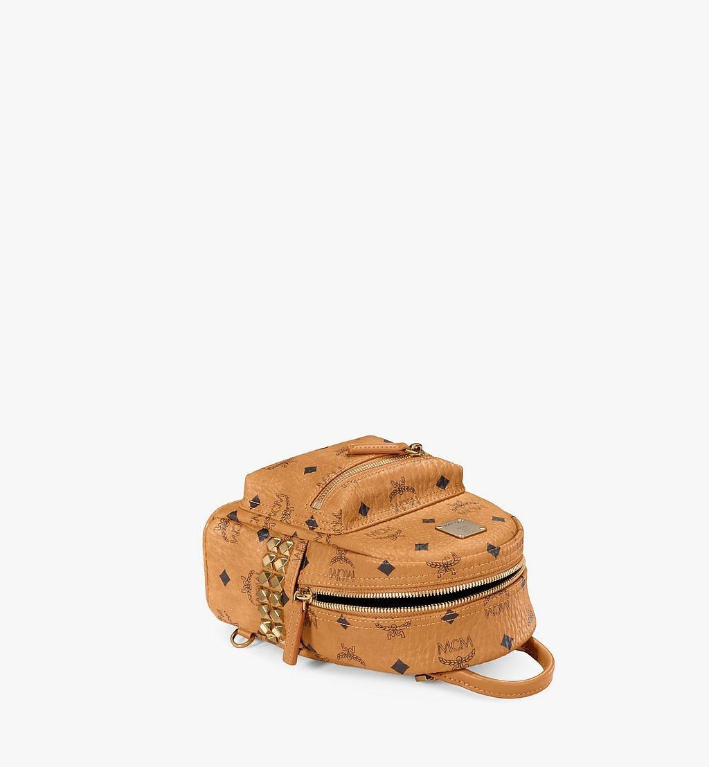 MCM Stark Bebe Boo Side Studs Backpack in Visetos Cognac MMK6SVE92CO001 Alternate View 2
