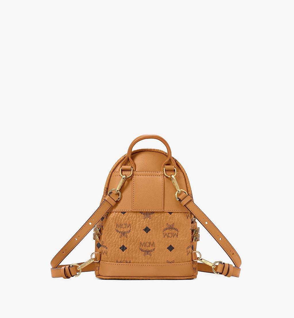 MCM Stark Bebe Boo Side Studs Backpack in Visetos Cognac MMK6SVE92CO001 Alternate View 3