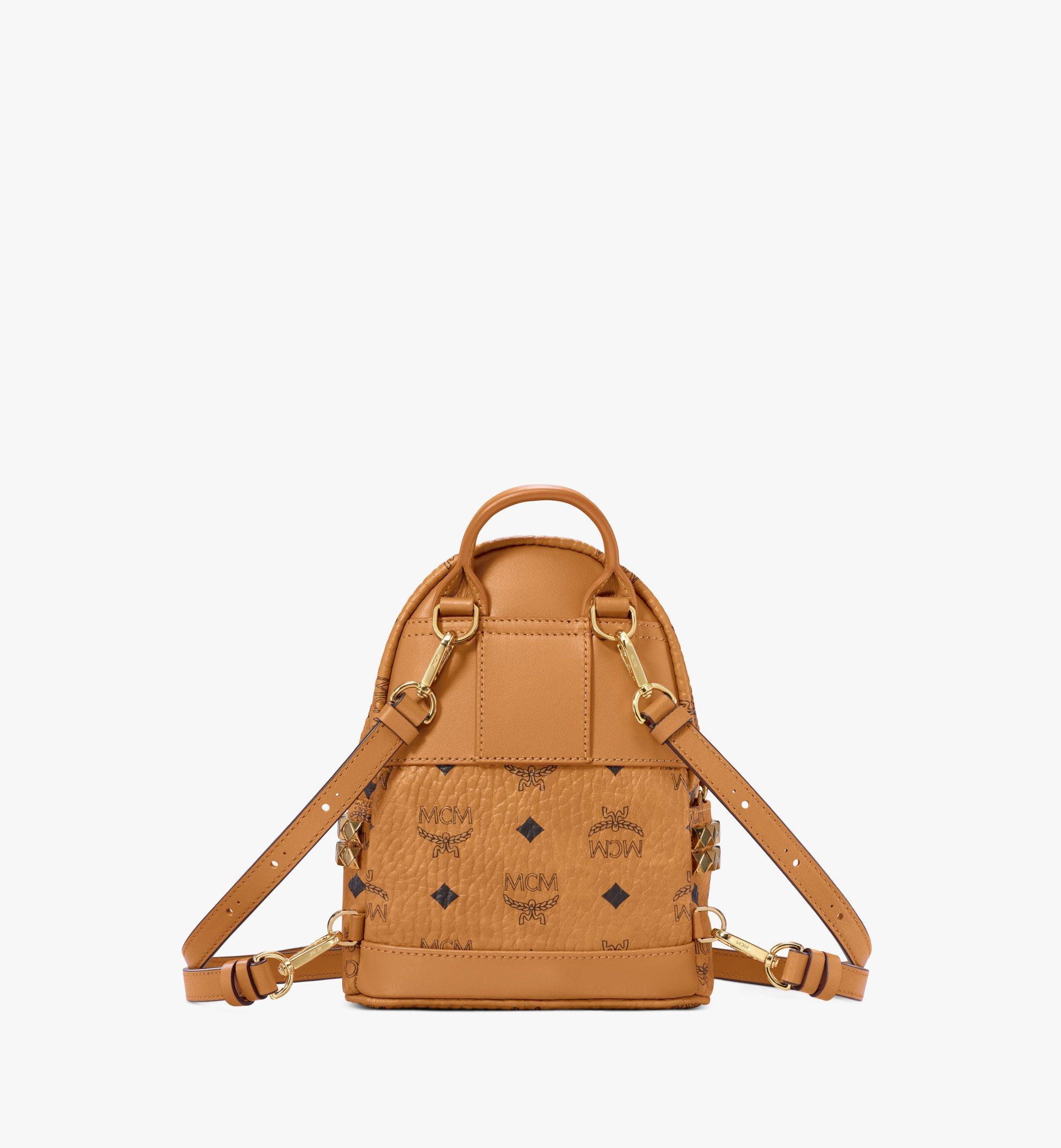 MCM Stark Side Studs Bebe Boo Backpack in Visetos Cognac MMK6SVE92CO001 Alternate View 4