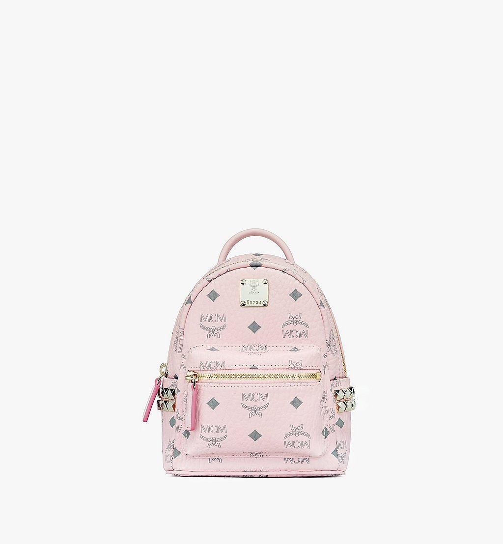MCM Stark Bebe Boo Side Studs Backpack in Visetos Pink MMK6SVE92QH001 Alternate View 1