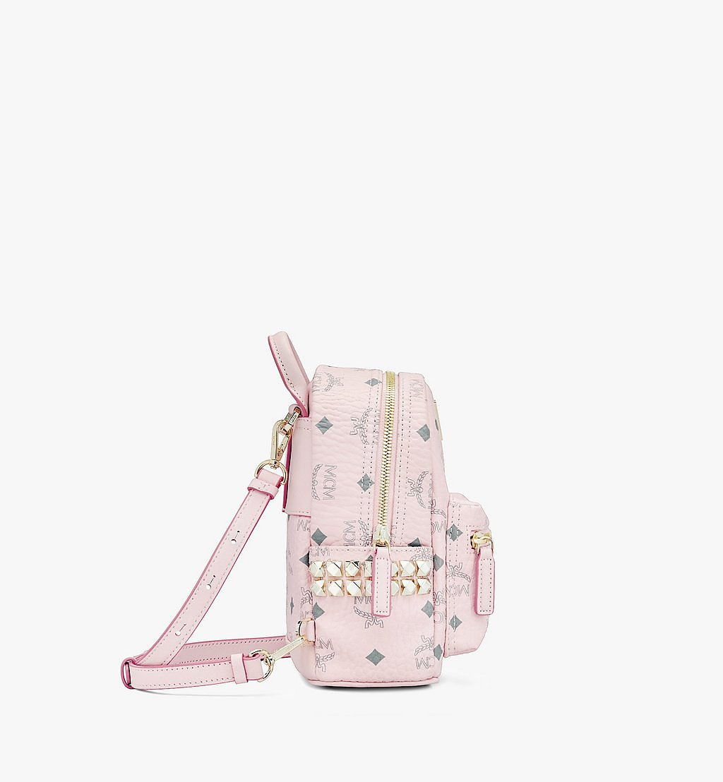 MCM Stark Bebe Boo Side Studs Backpack in Visetos Pink MMK6SVE92QH001 Alternate View 1