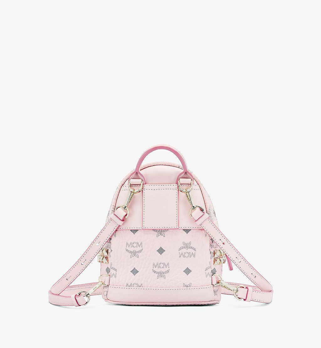 MCM Stark Bebe Boo Side Studs Backpack in Visetos Pink MMK6SVE92QH001 Alternate View 2