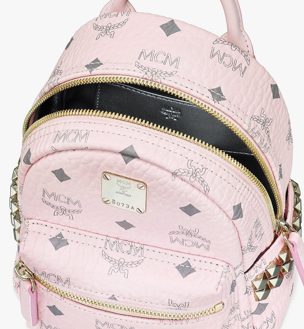 MCM Stark Bebe Boo Side Studs Backpack in Visetos Pink MMK6SVE92QH001 Alternate View 3