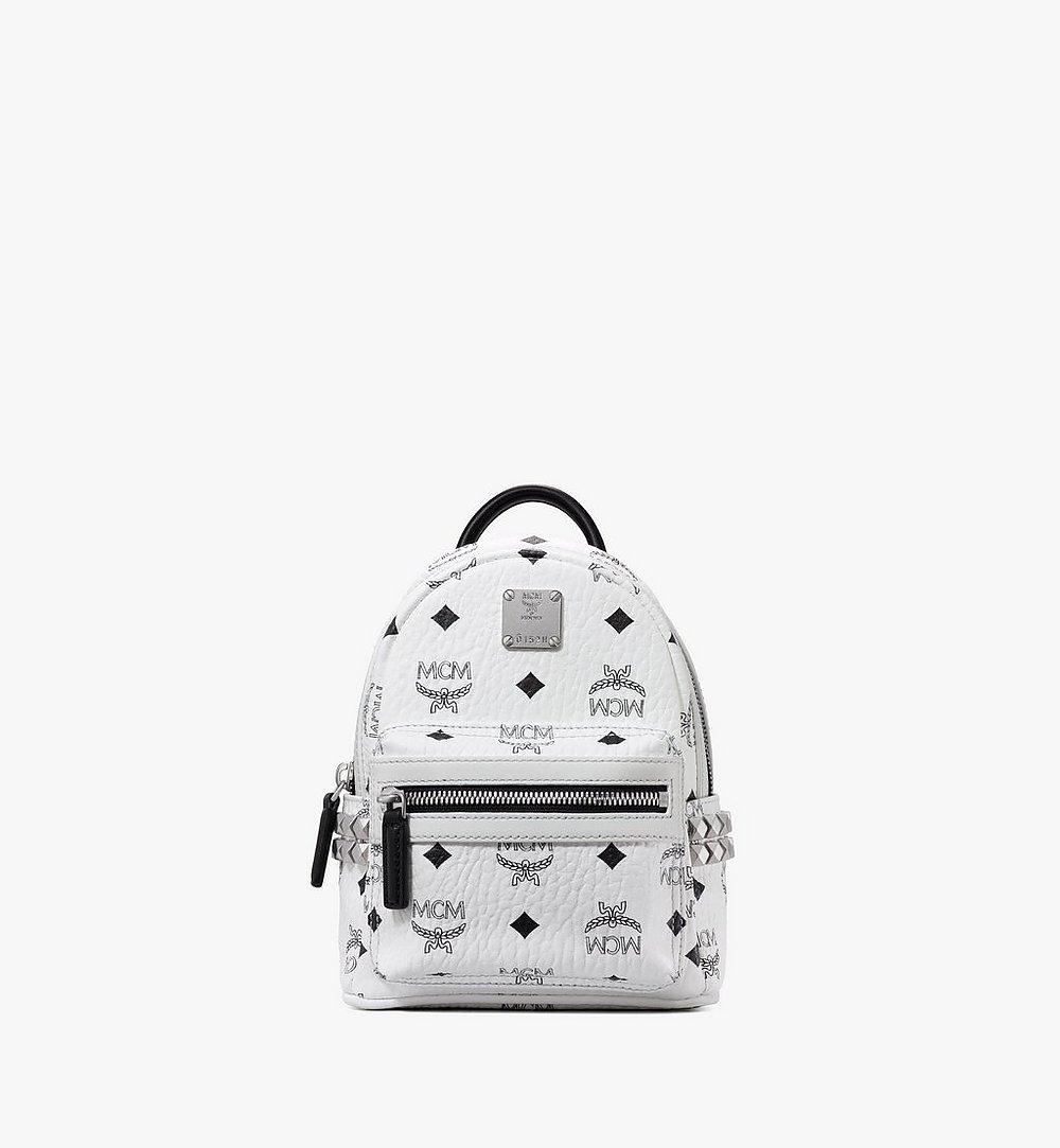 MCM Stark Side Studs Bebe Boo Backpack in Visetos White MMK6SVE92WT001 Alternate View 1