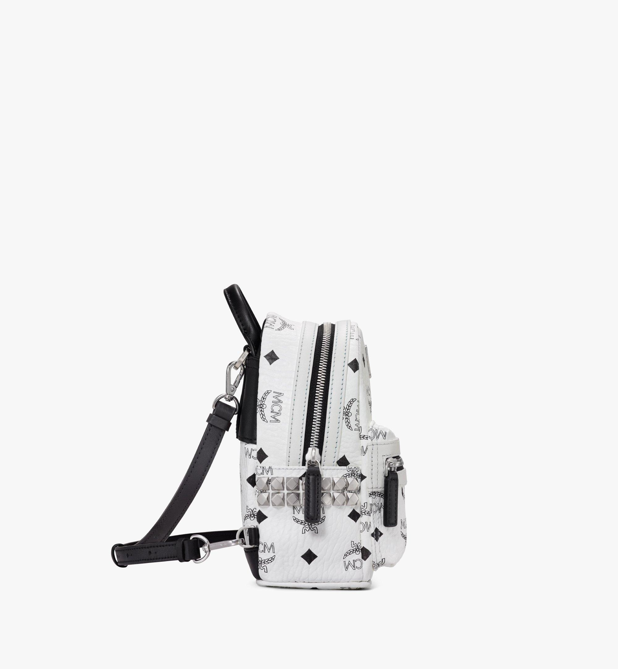 MCM Stark Bebe Boo Backpack in Visetos White MMK6SVE92WT001 Alternate View 1