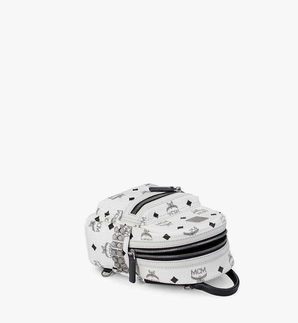 MCM Stark Side Studs Bebe Boo Backpack in Visetos White MMK6SVE92WT001 Alternate View 2