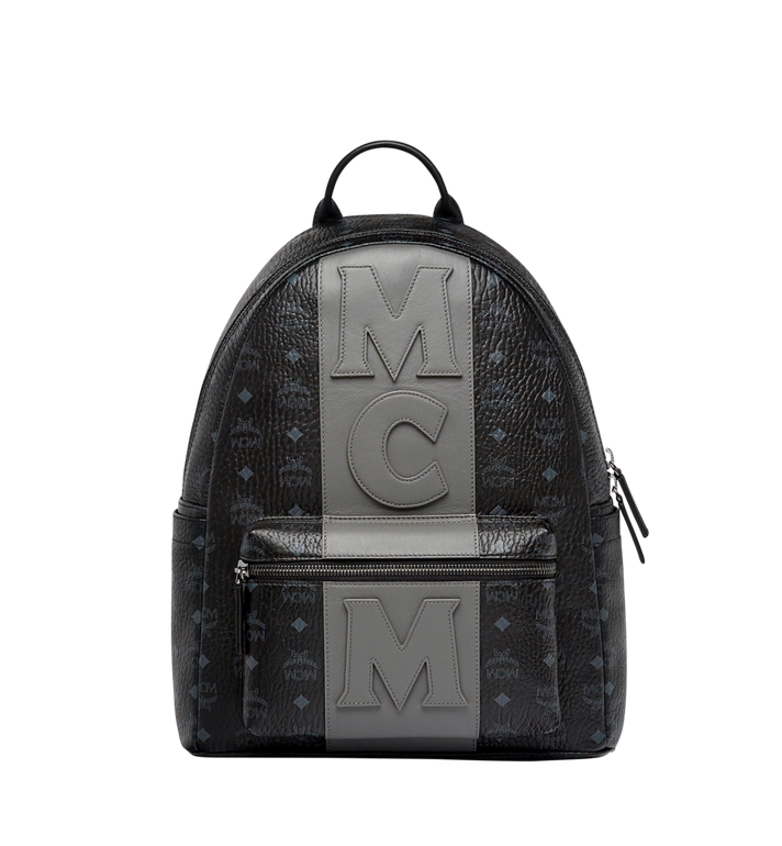 MCM Stark Logo Stripe Backpack in Visetos MMK7AVE27BK001 AlternateView