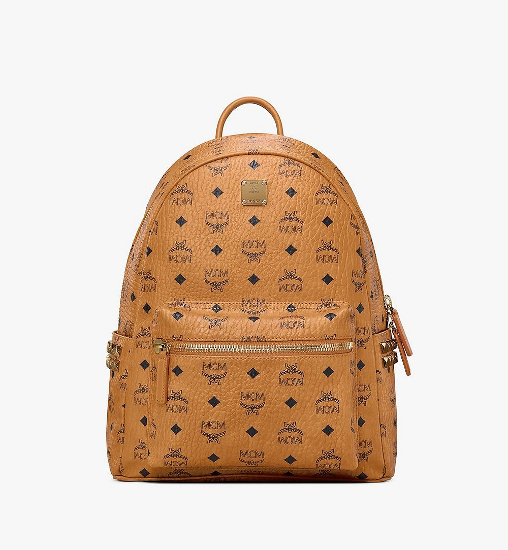 MCM Stark Side Studs Backpack in Visetos Cognac MMK7AVE99CO001 Alternate View 1