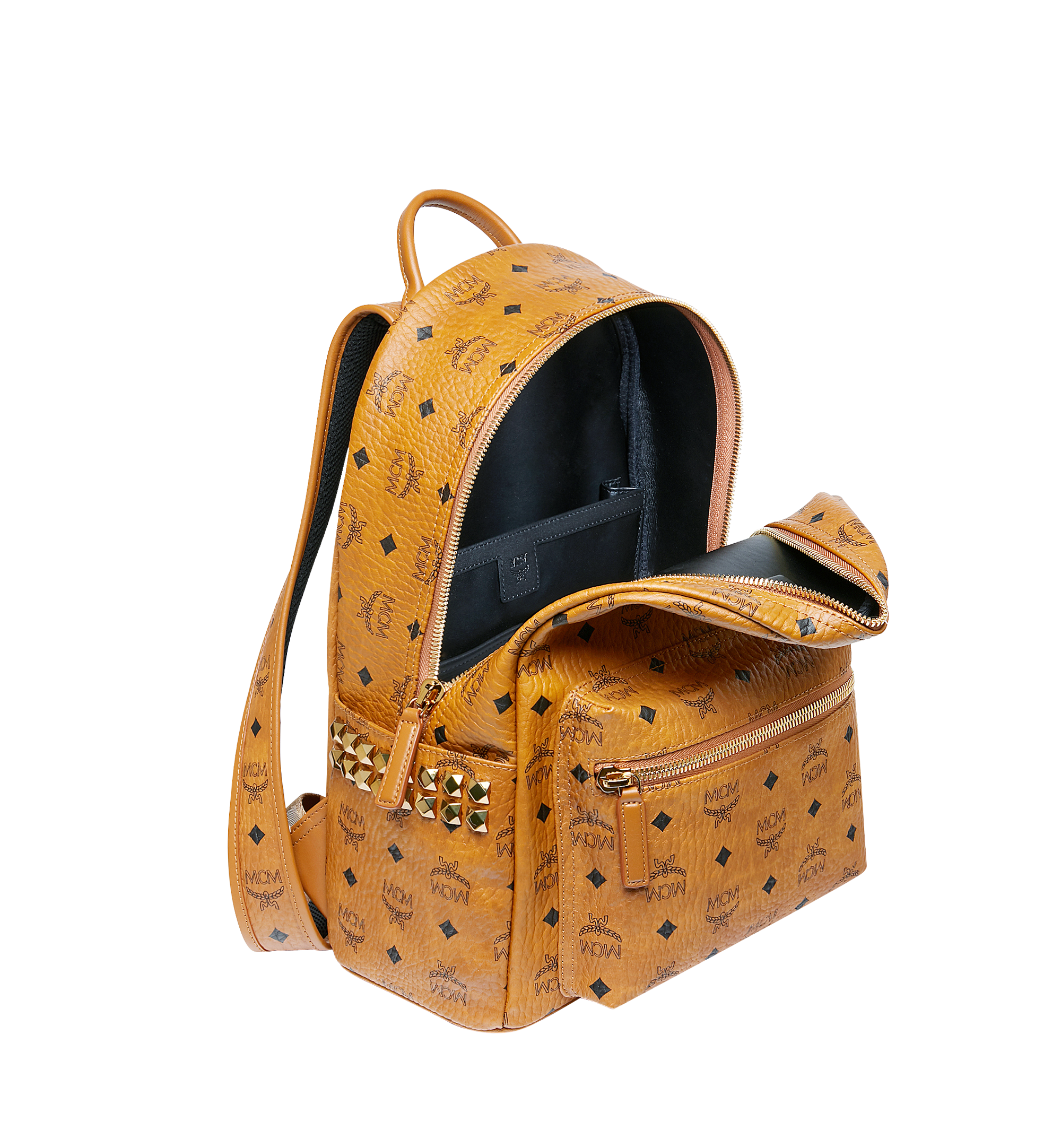 37 cm 14.5 in Stark Side Studs Rucksack in Visetos Cognac