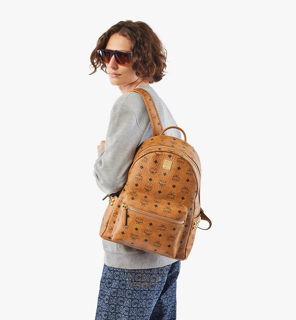 MCM Stark Side Studs Backpack in Visetos Cognac MMK7AVE99CO001 Alternate View 2