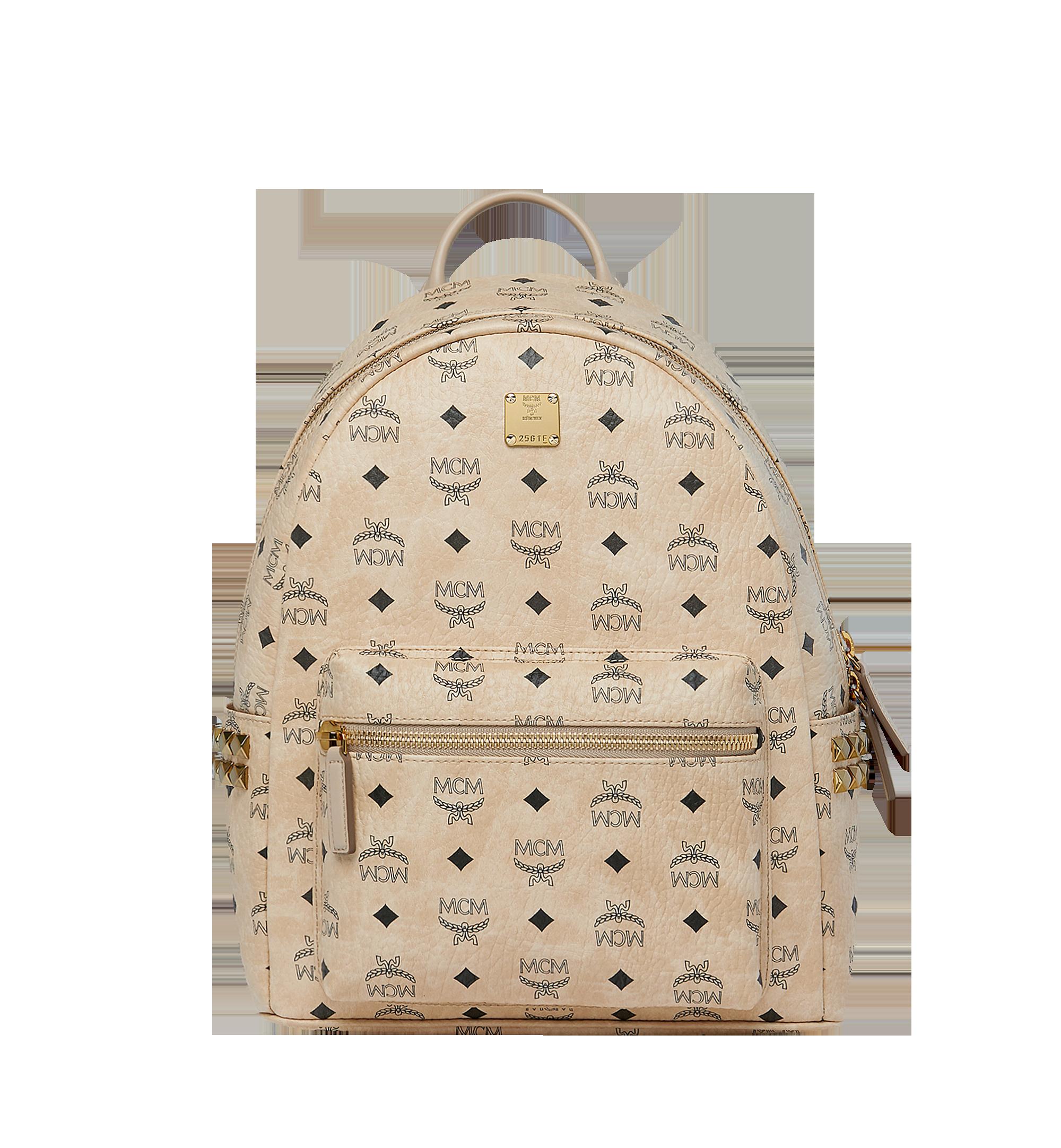 MCM Stark Side Studs Backpack in Visetos Beige MMK7AVE99IG001 Alternate View 1