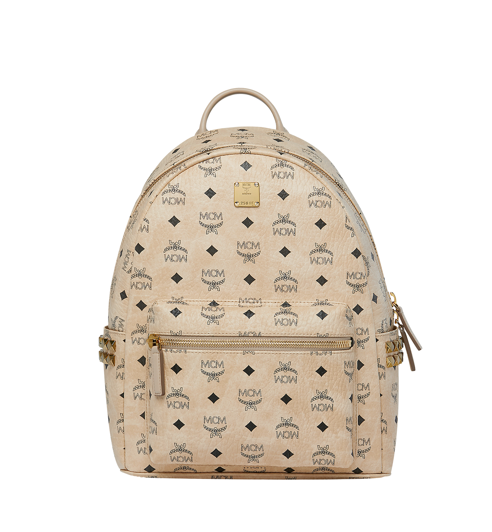 37 cm 14.5 in Stark Side Studs Backpack in Visetos Beige