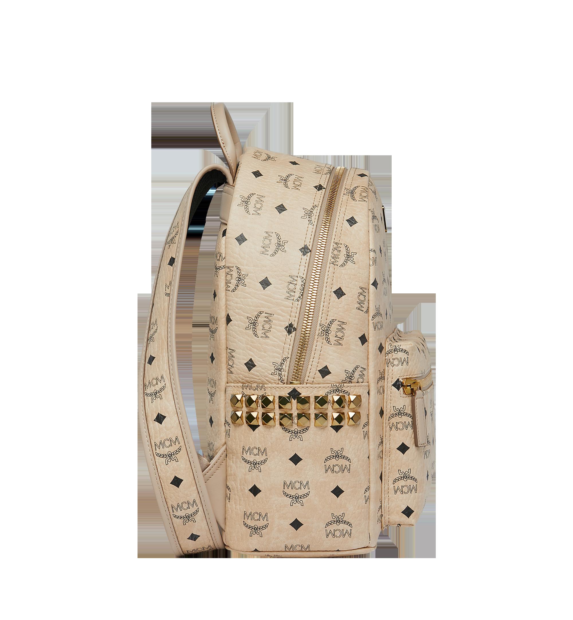 MCM Stark Side Studs Backpack in Visetos Beige MMK7AVE99IG001 Alternate View 2