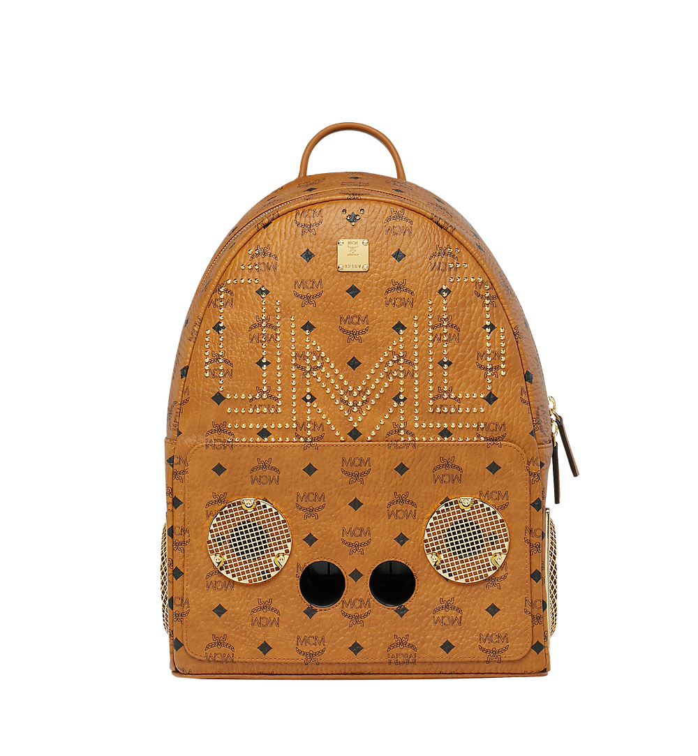 MCM MCM x WizPak Studded Backpack in Visetos Cognac MMK8AOC86CO001 Alternate View 1