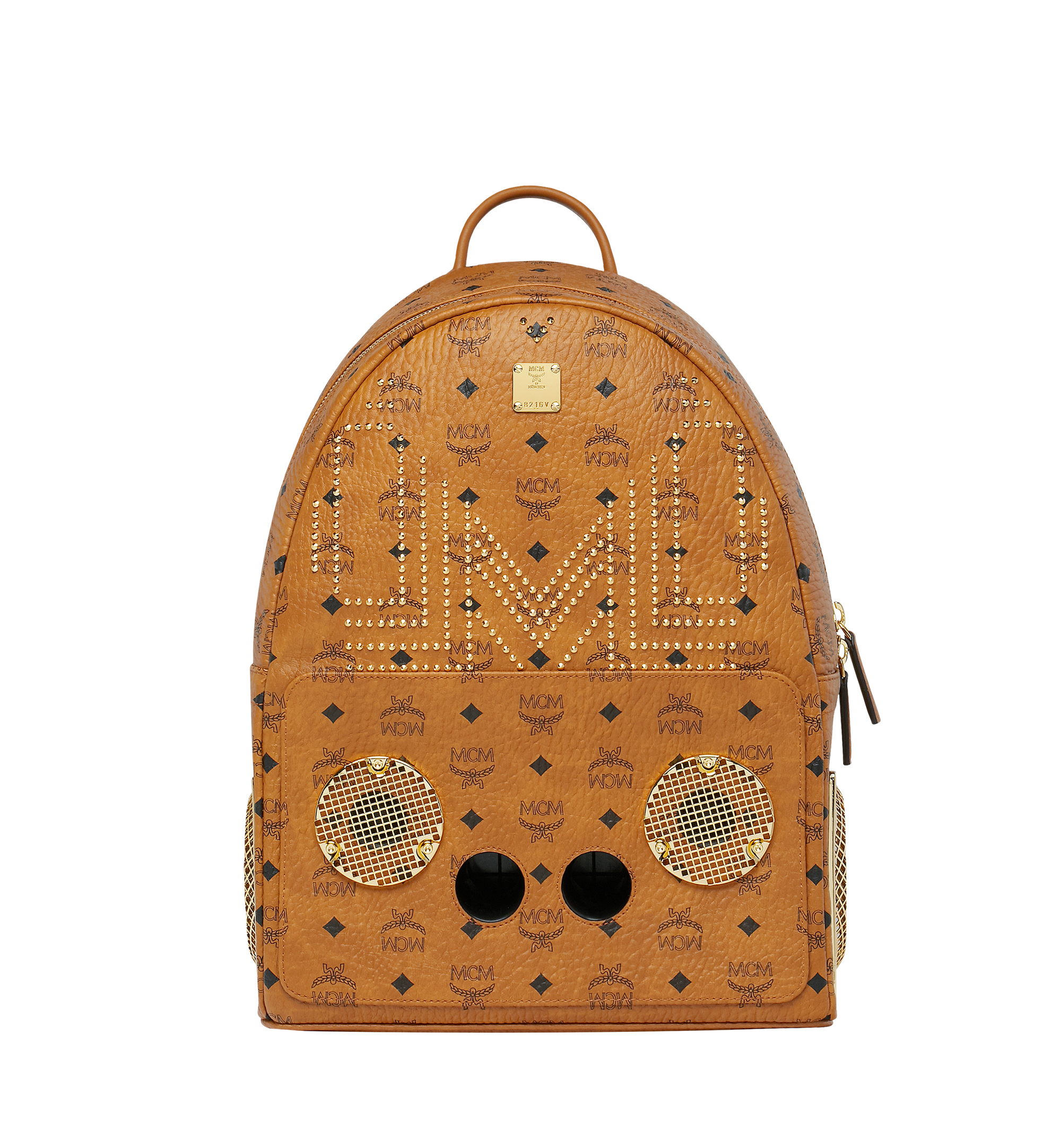 MCM MCM x WizPak Studded Backpack in Visetos Cognac MMK8AOC86CO001 Alternate View 1